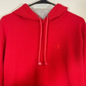 Champion Red Hooded Sweatshirt Unisex Small